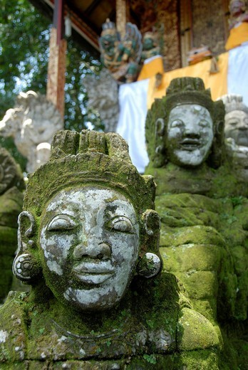 Bali Hinduism, old faces on moss_covered stone statues, Pura Griya Sakti Temple near Ubud, Bali, Indonesia, Southeast Asia, Asia : Stock Photo