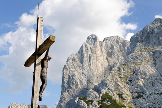 Cross, Stripsenjochhaus, Wilder Kaiser, Tyrol, Austria, Europe : Stock Photo