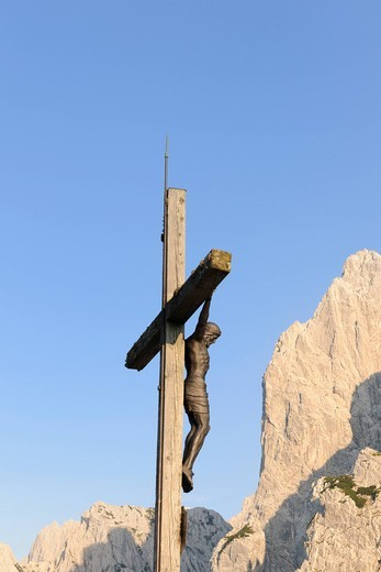 Cross, Stripsenjochhaus, Wilder Kaiser, Tyrol, Austria, Europe : Stock Photo