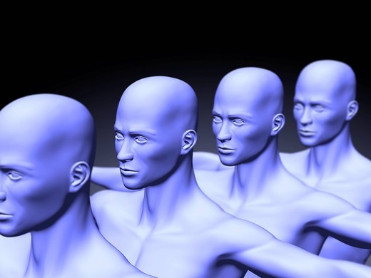 Human clones, symbolic picture, 3D Illustration : Stock Photo