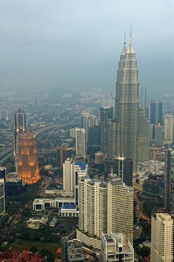Stock Photo: 1848R-513357 Petronas Towers, Menara Petronas, as seen from KL Tower, Kuala Lumpur, Malaysia, Southeast Asia