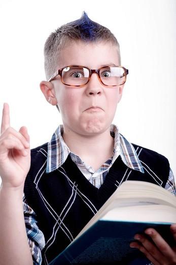 Stock Photo: 1848R-514081 Boy reading a book