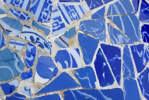 Mosaic in the Park Gueell in Barcelona, Spain, Europe : Stock Photo