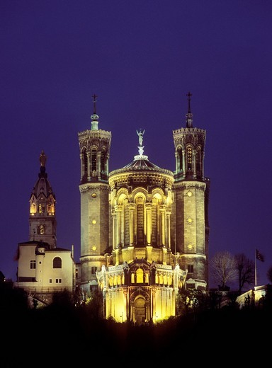 Basilica of Notre Dame de Fourviere, Lyon, Rhône_Alpes, France, Europe : Stock Photo