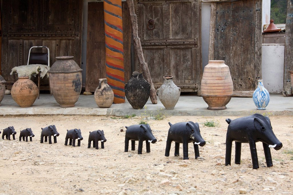 Boars, souvenirs, Morocco, Africa : Stock Photo