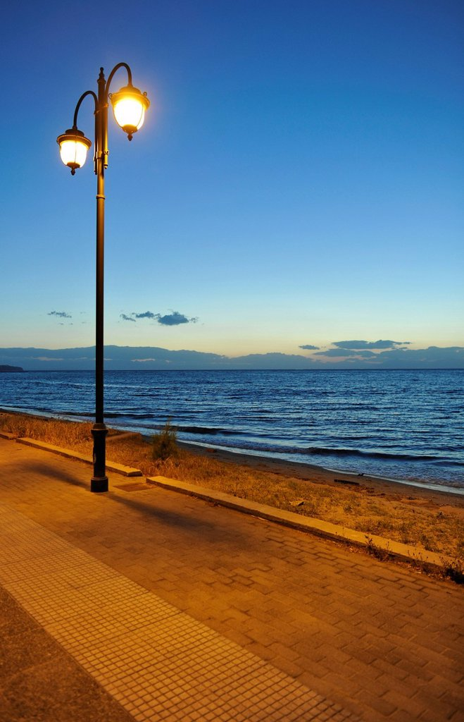 Seafront, double street light, sea, Greece, Europe : Stock Photo