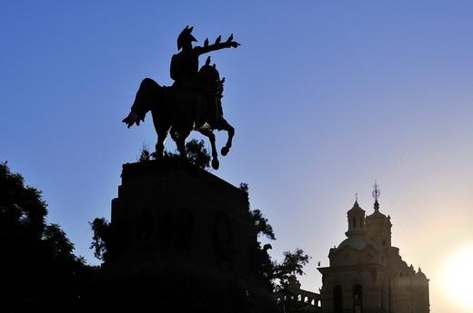 Plaza San Martin square with equestrian statue, Cordoba, Argentina, South America : Stock Photo