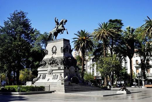 Stock Photo: 1848R-514877 Plaza San Martin square with equestrian statue, Cordoba, Argentina, South America