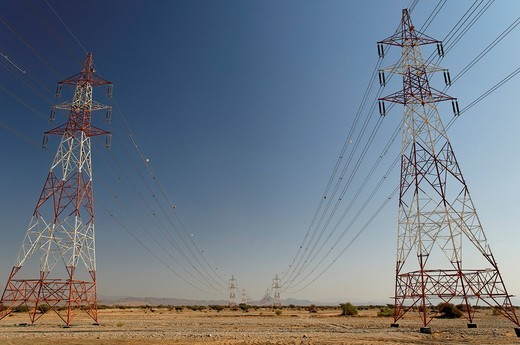 Stock Photo: 1848R-515647 Transmission lines, Wadi Bani Khalid, Oman, Middle East