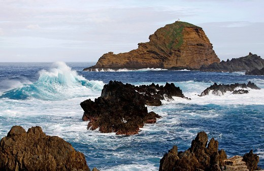 Waves, lava stone, Porto Moniz, Madeira, Portugal, Europe : Stock Photo