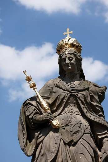 Statue of Empress Kunigund, Cunegonde on the Untere Bruecke bridge, Bamberg, Upper Franconia, Franconia, Bavaria, Germany, Europe : Stock Photo