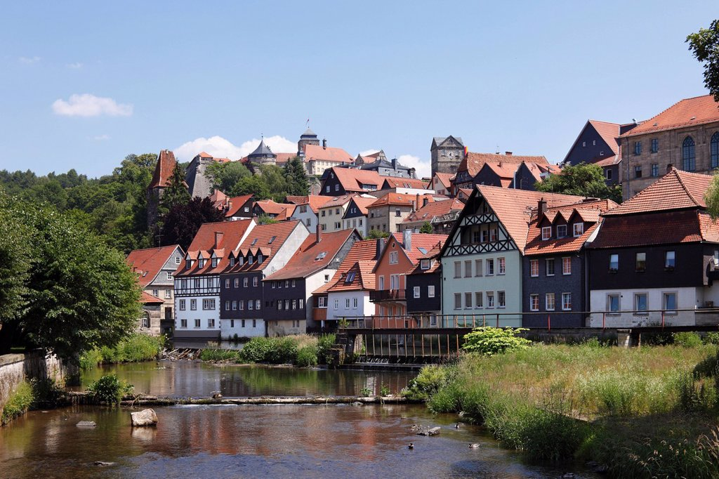 Stock Photo: 1848R-517274 Rosenburg fortress and the historic town centre of Kronach, Hasslach River, Upper Franconia, Franconia, Bavaria, Germany, Europe