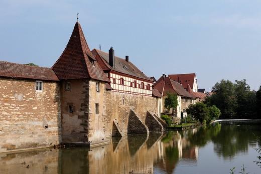 Seeweihermauer, city wall, Weissenburg in Bavaria, Middle Franconia, Franconia, Bavaria, Germany, Europe : Stock Photo