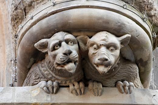 Figures on the portal of the St. Johannis Church, Schweinfurt, Franconia, Bavaria, Germany, Europe : Stock Photo