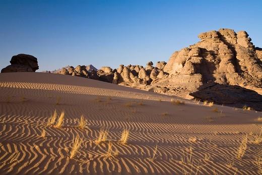 Rock formations in the Libyan Desert, Akakus Mountains, Libyan Desert, Libya, Africa : Stock Photo