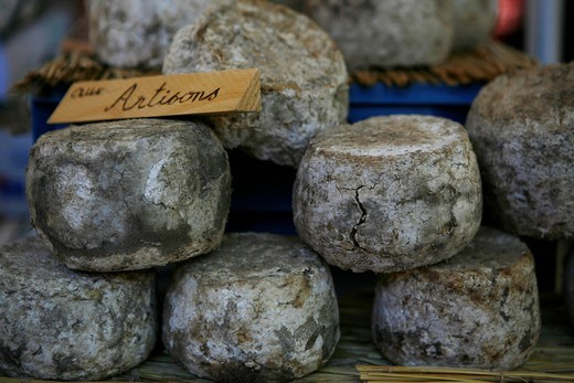Cheese, market in Pont_Saint_Esprit, France, Europe : Stock Photo