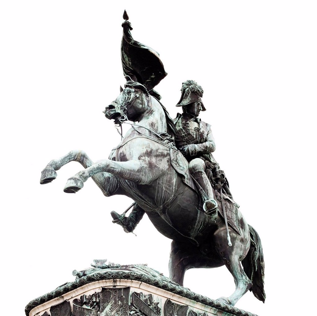 Stock Photo: 1848R-518223 Equestrian statue of Archduke Charles at Heldenplatz square, Vienna, Austria, Europe