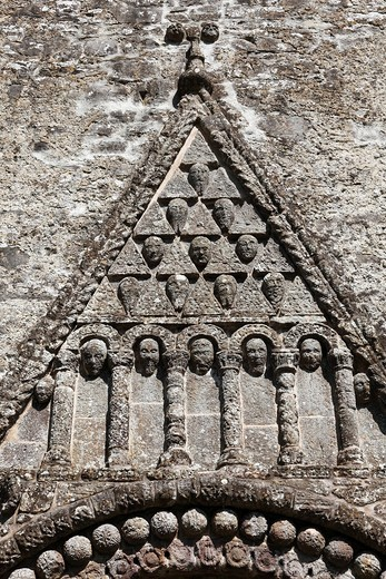 Stock Photo: 1848R-519221 Triangular pediment on a portal, Cathedral of St. Brendan, Cathedral of Clonfert, County Galway, Connacht province, Republic of Ireland, Europe