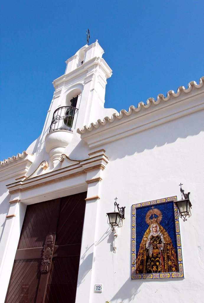 Stock Photo: 1848R-519870 Portal and belfry of the monastery in Chipiona, Andalusia, Spain, Europe