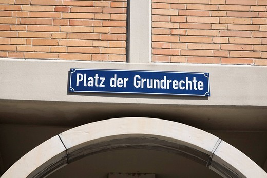 Platz der Grundrechte or Square of Fundamental Rights in Karlsruhe, Baden_Wuerttemberg, Germany, Europe : Stock Photo