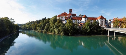 St. Mang Basilica and Lech river, Fussen, Ostallgaeu, Allgaeu, Swabia, Bavaria, Germany, Europe : Stock Photo