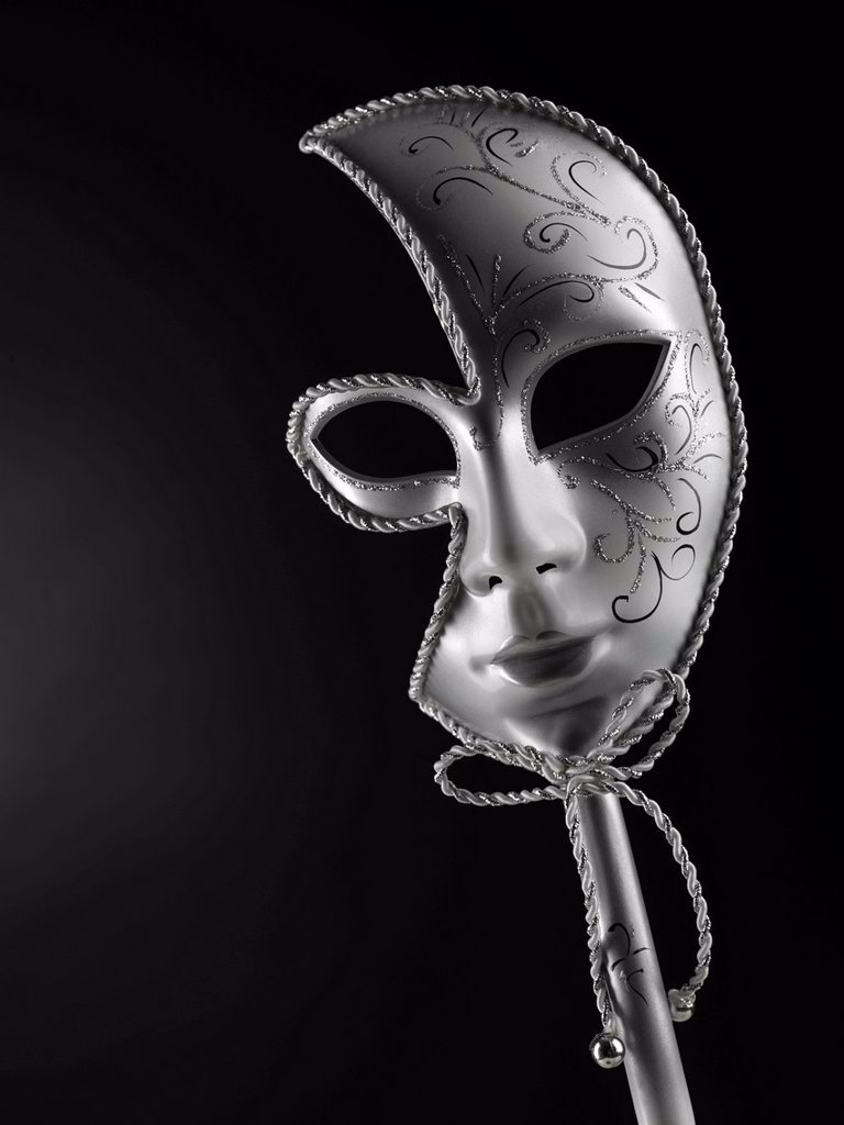 Silver Venetian mask : Stock Photo