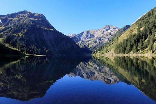 Stock Photo: 1848R-521395 Lake Vilsalpsee at Tannheim, Vilsalpseeberge mountains, Tannheimer Tal high valley, Tyrol, Austria, Europe