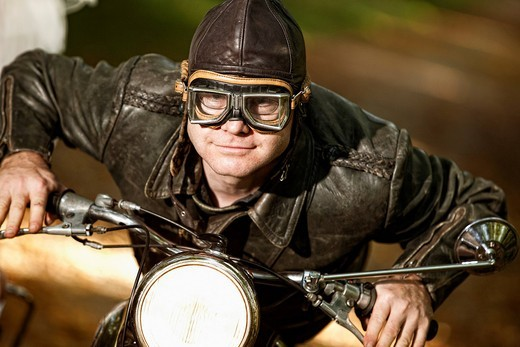 Stock Photo: 1848R-522002 Motorcycle rider in period costume