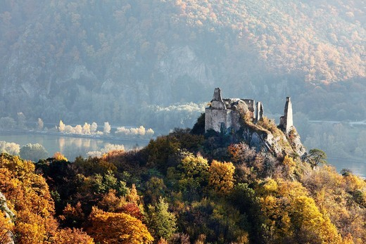 Duernstein castle ruins, Danube, panoramic view from Vogelsberg mountain, Wachau valley, Waldviertel region, Lower Austria, Europe : Stock Photo