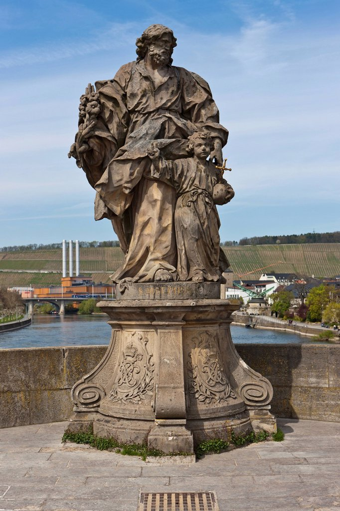 Alte Mainbruecke Main river bridge with statue of St. Josephus, Wuerzburg, Bavaria, Germany, Europe : Stock Photo