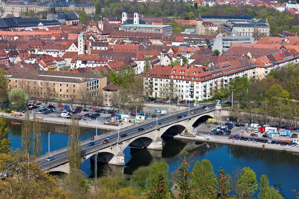 View of Wuerzburg as seen from Fortress Marienberg, Main river, Ludwigsbruecke bridge, Wuerzburg, Franconia, Bavaria, Germany, Europe : Stock Photo