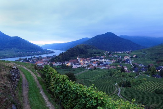 Stock Photo: 1848R-523320 Spitz and Danube in the evening twilight, Wachau, Waldviertel, Forest Quarter, Lower Austria, Austria, Europe