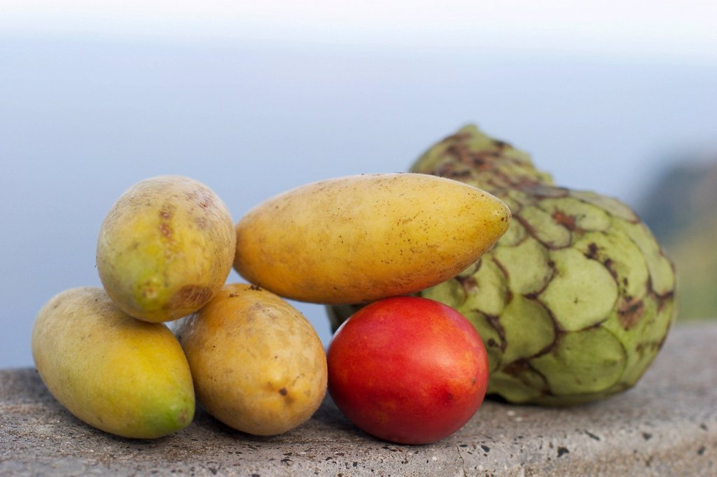 Banana passion fruits and other fruits _ Madeira : Stock Photo