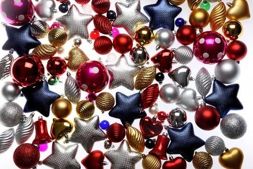 Christmas decorations, various Christmas tree balls, baubles : Stock Photo