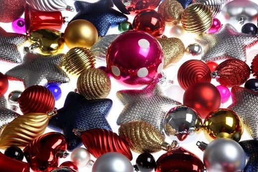 Christmas decorations, various Christmas tree balls, baubles : Stock Photo