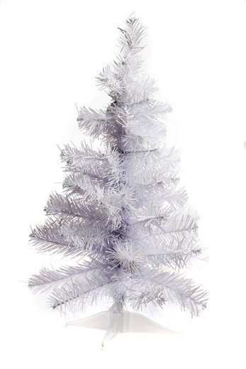White plastic Christmas tree, collapsible : Stock Photo