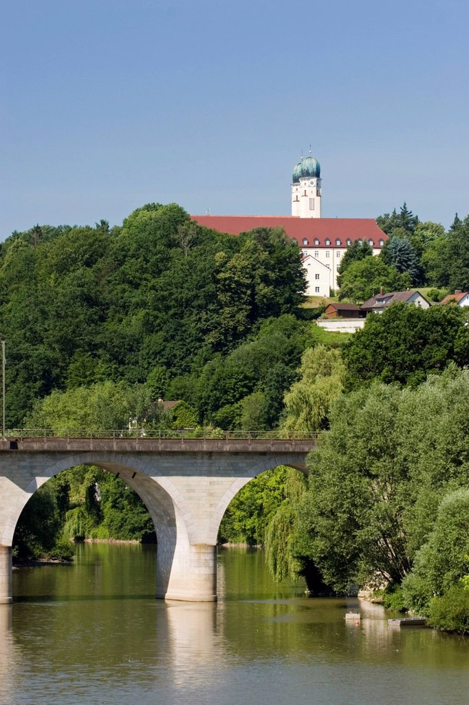Stock Photo: 1848R-525393 Vilshofen monastery Schweiklberg Vils river Lower Bavaria Germany