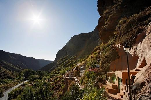 Cave houses, Cuevas Bermejas in Barranco de Guayadeque, Gran Canaria, Spain : Stock Photo