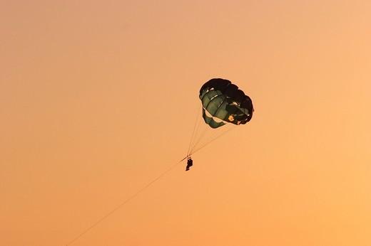 Stock Photo: 1848R-526720 Parasail in sunset in San Antonio Abad _ Ibiza