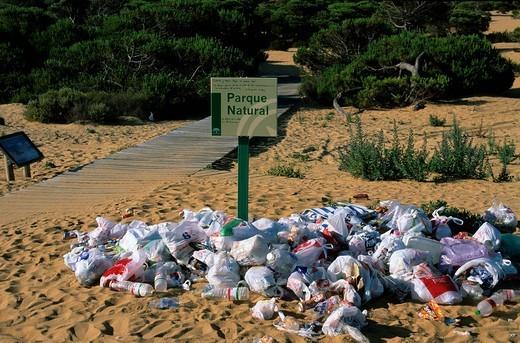 Waste in National park Doñana _ Costa de la Luz Andalusia Province Huelva Spain : Stock Photo