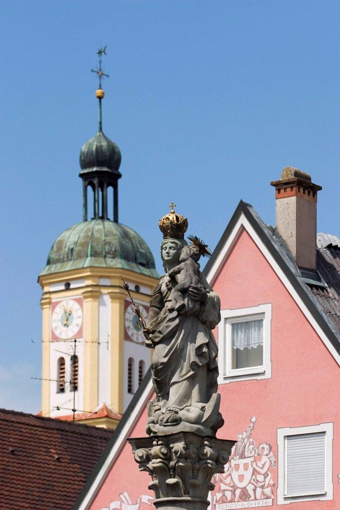 Stock Photo: 1848R-527391 Figure of Maria in Mindelheim _ Bavaria