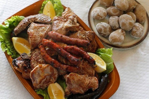 Stock Photo: 1848R-528343 Mixed grill parillada de carne, La Gomera, Canary Islands, Spain