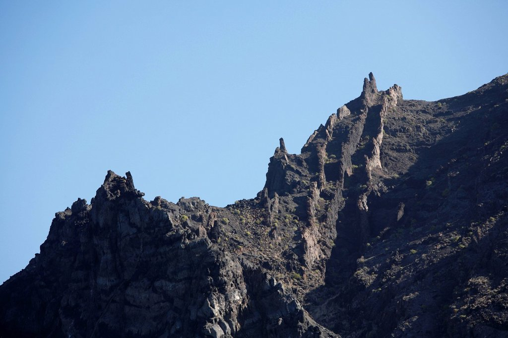 Stock Photo: 1848R-528365 Westcoast near Tazo, view from boat, La Gomera, Canary Islands, Spain