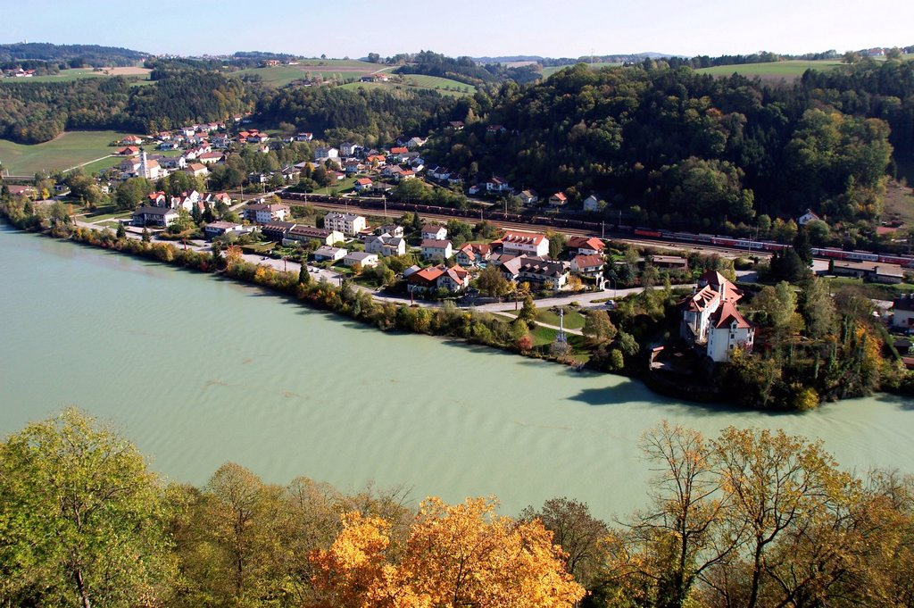 View from Castle Neuburg on the Inn to Wernstein in Austria : Stock Photo