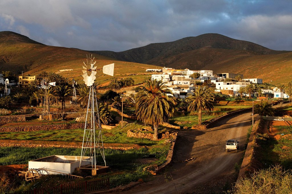 Toto village near Pajara , Water Windmill , Fuerteventura , Canary Islands : Stock Photo
