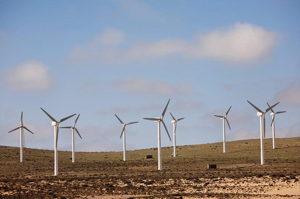 Stock Photo: 1848R-528853 Wind farm , Jandia , Fuerteventura , Canary Islands