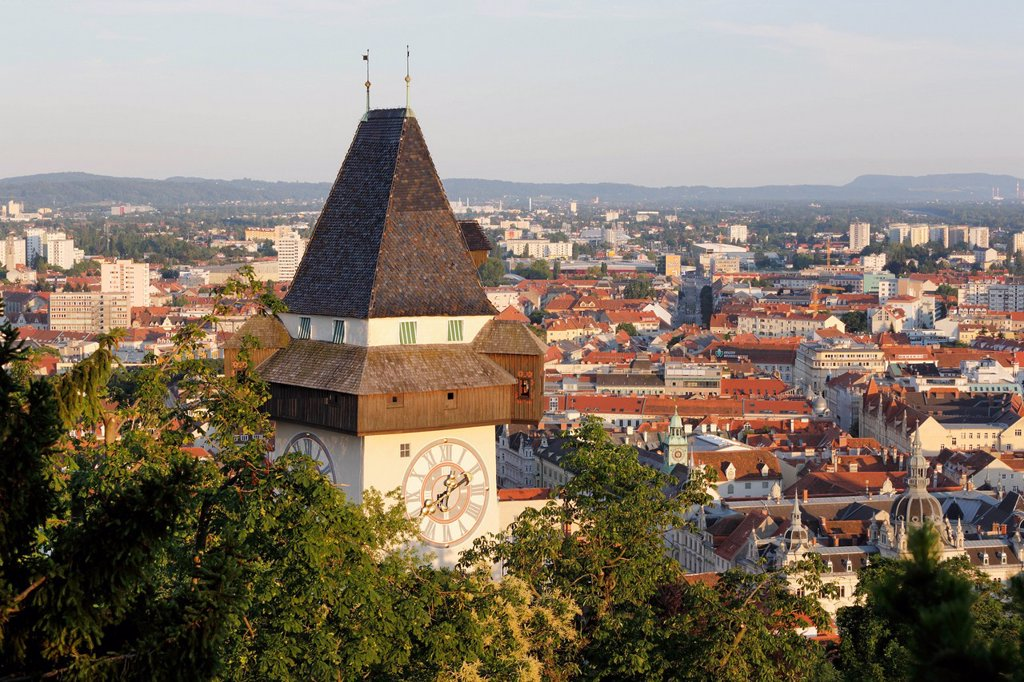 Stock Photo: 1848R-623538 Clock tower on Schlossberg, castle hill, Graz, Styria, Austria, Europe, PublicGround