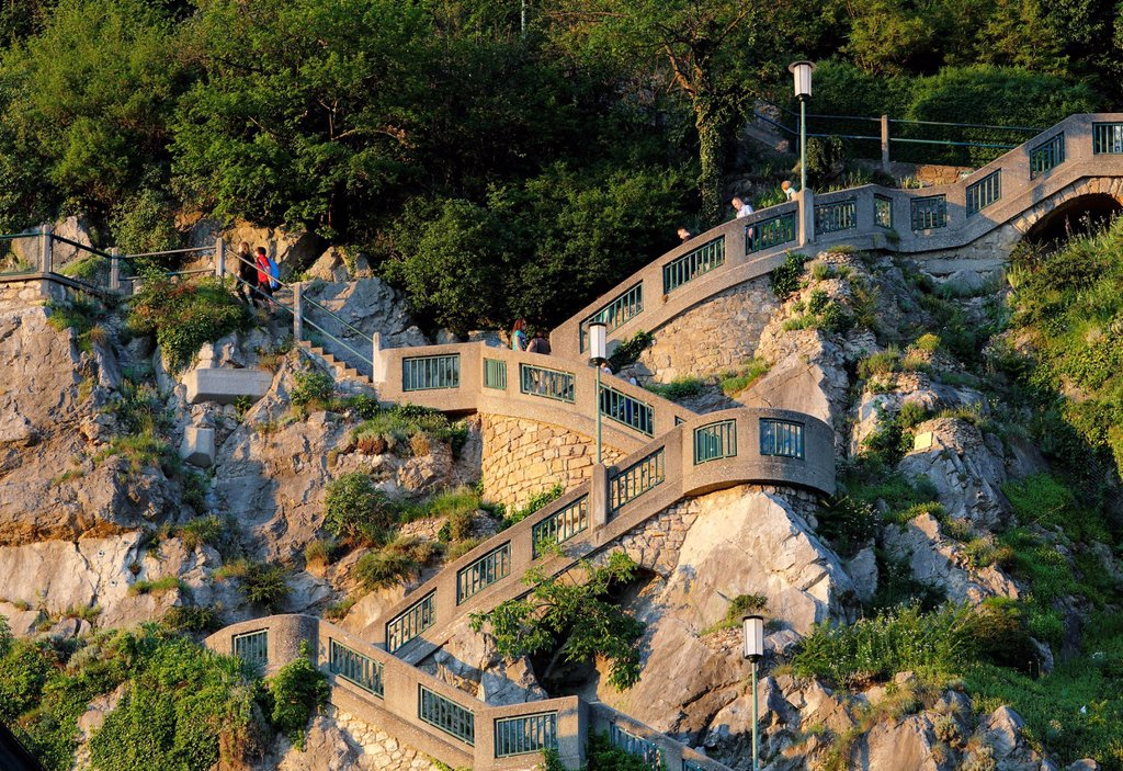 Schlossbergstiege, castle hill stairs, Graz, Styria, Austria, Europe, PublicGround : Stock Photo