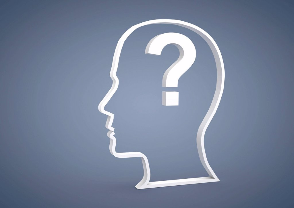 Stock Photo: 1848R-623773 Head with a question mark symbol, symbolic image for questions or problems, 3D illustration
