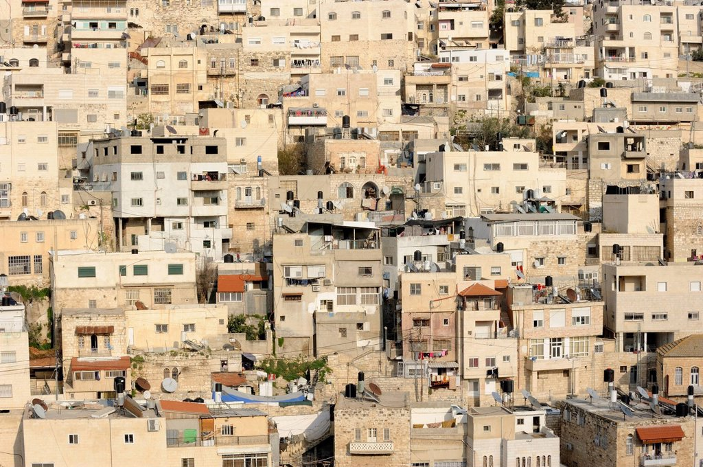 Stock Photo: 1848R-625437 Silwan, Palestinian suburb outside the Old City on the other side of the Kidron Valley, Jerusalem, Israel, Middle East
